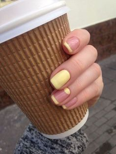 23 Great Yellow Nail Art Designs 2019 - Yellow Nails - Best Nail World French Manicure With A Twist, French Manicure Nails, My Nails, Manicure Ideas, Nail Nail, Summer French Manicure, Coloured French Manicure, Nail French, Manicure Nail Designs