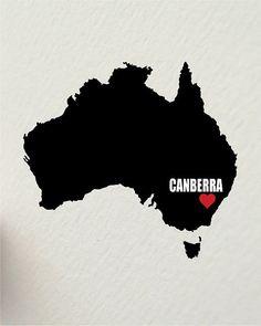 I LOVE CANBERRA australia 8 x 10 inch by hunterandsmile on Etsy, $17.50