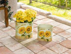 "Metall-Pflanzer ""Sunflowers"", oval, 2er Set"