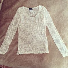 Sheer Lace Long Sleeve Top Ivory sheer lace long sleeve top from Wet Seal. Size XS. Probably worn once, if at all. Wet Seal Tops