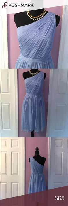 J Crew off the shoulder Kylie dress Silk chiffon Kylie dress 👗from J Crew. Good as new condition. Beautiful light blue color. J Crew Dresses Midi