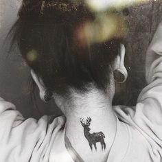 Cute deer behind the neck Female tattoo