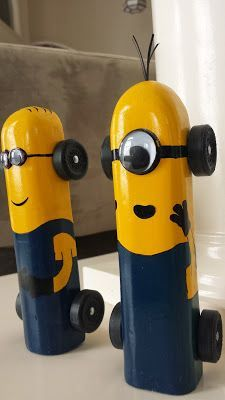 Minion Pinewood Derby Car pinned with Pinvolve - pinvolve.co