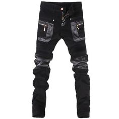 Cheap jeans light, Buy Quality clothing doll directly from China clothing mens jeans Suppliers: New Men's Skinny Stitching Leather Pants Long Zipper Motorcycle PU Brand Fashion Military Sweatpants Harem Jeans Men Clothing Skinny Leather Pants, Skinny Jeans, Buy Jeans Online, Harem Jeans, Motorcycle Jeans, Slim Pants, Casual Jeans, Punk, Fashion Brand