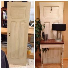 Upcycled furniture. Solid wood 1920s door upcycled to a beautiful entry table. Painted white and distressed.