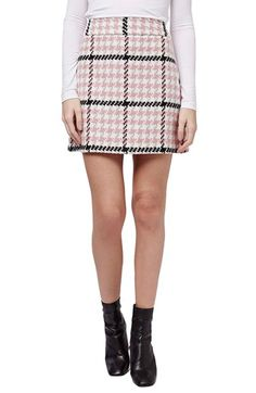 Topshop Houndstooth A-Line Skirt available at #Nordstrom