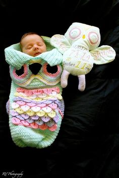 Crochet Owl Cocoon and Personalized by WarmingHeartsCrochet