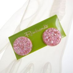 Vintage Earrings Pink Lucite Confetti Pierced – Rembrandt $12 http://www.rubylane.com/item/885482-JE-461/Vintage-Earrings-Pink-Lucite-Confetti
