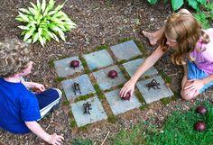 kinderspiele im freien als idee für DIY Spielplatz im garten