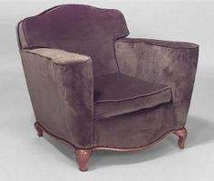 Pair of French Art Deco upholstered club chairs with shaped back and maple legs & trim