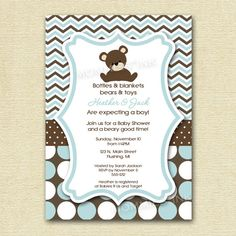 Love The Blue Brown Teddy Bear Theme Idea For Boy Baby Shower Boy