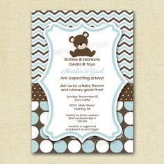Chevron Polka Dot Teddy Bear Baby Shower Invitation - PRINTABLE INVITATION DESIGN on Etsy, $12.50