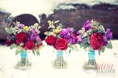 Love these colors :) but with a navy wrap Wedding Bridesmaid Bouquets, Winter Wedding Bridesmaids, Diy Wedding Flowers, Wedding Colors, Wedding Bells, Wedding Ideas, Winter Bouquet, Red Peonies, Winter Photos