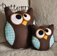 Cute little fellas - convert to crochet? :) Owl Pillow Pattern Set Hooter the Owl PDF Tutorial and by bedbuggs