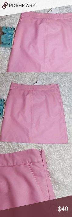 "Topshop Pink Faux Leather Mini Skirt Measurement approximations: waist across 14"" and length 17.5"". Topshop Skirts Mini"