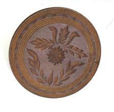 """antique LARGE 5.25"""" PRIMITIVE WOOD BUTTER COOKIE MOLD STAMP folk art AAFA FLORAL"""