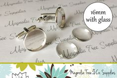 Makes 5 complete pairs Silver Cufflinks (with glass included)  These cufflinks are perfect for creating your own personalized images. They feature a 16mm bezel tray and hold a 16mm glass dome perfectly.  Details: ♥ 16mm diameter ♥ Color: Silver Plated ♥ 16mm round glass domes ♥ Recessed tray ♥ Lead and nickel free ♥ Quantity: 5 pairs cufflinks (10 pieces) and 10 pieces of domed glass   We also carry lapel pins and kilt pins for other wedding themed creations…