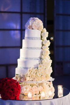 white and bling wedding cake