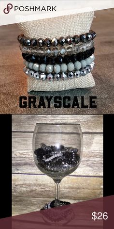 Beaded Bracelet Stack: Greyscale We are loving our new bracelet stacks!!  These are the sparkliest, prettiest bracelets with incredibly vibrant colors.  Once you get your hands on one of these stacks, you'll want a stack from each collection.  Each stack features 5 bracelets ranging in size from 4mm to 10mm.  This stack features bracelets in pops of black, grey, and silver.  NOTE - The first photo shows color only, and is not representative of the size of each bracelet.  Please see the…