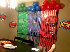 PJ Masks birthday backdrop streamers & balloons in red blue & green Fourth Birthday, 4th Birthday Parties, Birthday Fun, Birthday Ideas, Pjmask Party, Party Ideas, Pj Masks Birthday Cake, Festa Pj Masks, Birthday Backdrop
