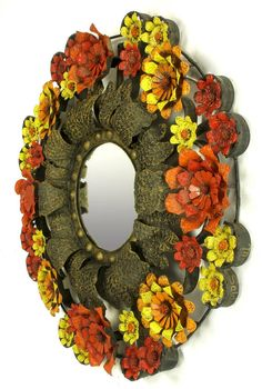 Artes De Mexico Mirror with Red, Yellow and Orange Tole Flower Surround 6