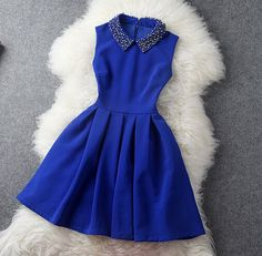 [ $51.00 ] Solid color sexy beaded sleeveless dress  B650197