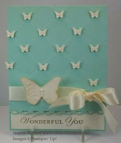 beautiful butterfly card  -Like the pattern and the use of tiny white butterflies