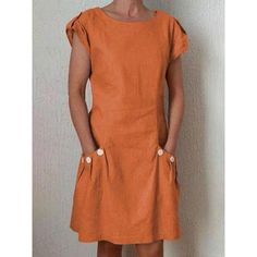 Summer Pockets Buttoned-decor Shift Linen Plus Size Dresses - Summer dresses Plus Size Dresses, Short Sleeve Dresses, Dresses With Sleeves, Short Sleeves, Long Sleeve, Robes Orange, Vestidos Fashion, Fashion Dresses, Stylish Dresses
