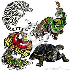 White tiger,green dragon, red phoenix and black turtle,Set of four feng shui celestial animals isolated on white background