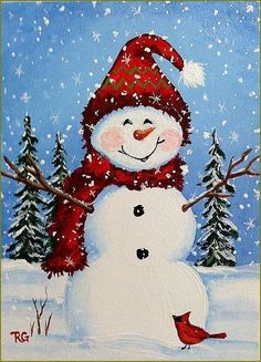 Snowman in illustration by Rhonda Gilbert - Balades comtoises . Snowman Crafts, Christmas Projects, Holiday Crafts, Watercolor Christmas Cards, Christmas Drawing, Snowmen Pictures, Christmas Pictures, Winter Painting, Winter Art