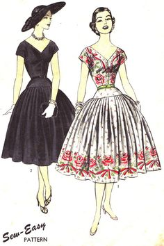 Vintage Sewing Pattern 1950s Advance 7024 Drop by paneenjerez, $35.00  Love this dress...and the hat!