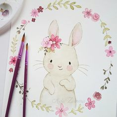 Baby Ilustration I show you one of the illustrations I did for Paul & Clara that is already part of . Bunny Drawing, Bunny Art, Drawing For Kids, Cute Illustration, Watercolor Illustration, Watercolor Paintings, Watercolour, Animal Drawings, Cute Drawings