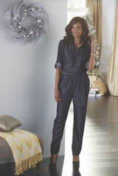 One of the hottest trends going, the jumpsuit flatters a tall woman or lends the illusion of height. This denim-look number is right on trend. Inseam is Rayon/polyester; Steve Harvey, Tall Women, Suits You, Tuxedo, Jumpsuit, Denim, Pants, Clothes, Dresses