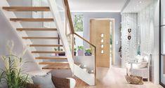 Wangentreppe Meisterstück viertelgewendelt mit Glasgeländer Stairs, Room, Furniture, Home Decor, Houses, Hallways, House Interior Design, Hairstyle, Projects