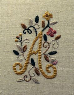 letra a Needlework, Perfume, Embroidery, Stitch, Knitting, Crochet, Embroidery Hoop Crafts, Parties, Do It Yourself