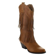 LILIANA DA64 Women's 2-Layers Fringe Stacked Heel Cow Boy Mid Calf Boots * See this great product.