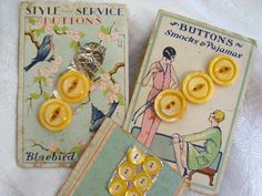 Vintage Yellow Pearl Buttons on Original by marypearlsvintage