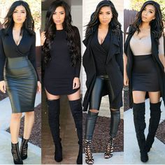 #flashbackfriday to these #blackonblack #outfits 🤗 what look is your style? 1,2,3 or 4? These looks can easily be recreated w pieces u already have in your closet 🤗😊💕