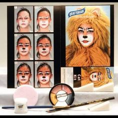 Graftobian's boxed kit contains all the professional quality crème makeup and instructions needed to create a cat character makeup effect this Halloween. Each kit contains, a minimum of, 4-5 colors, U