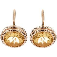 Arik Kastan Gold Quartz Citrine Earrings found on Polyvore