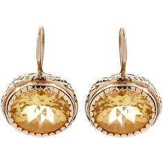 Arik Kastan Gold Citrine Earrings ($1,560) ❤ liked on Polyvore