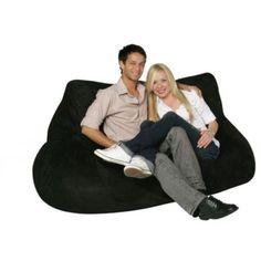 Bean Bag Factory Adult 2 Seat Black Bean Bag Chair Skin/Cover *Brand New*