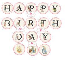 Peter Rabbit Happy Birthday Banner Digital Printable Banner Beatrix Potter, Happy Birthday Banners, 1st Birthday Parties, Printable Banner, Printables, Holly Hobbie, Peter Rabbit, Miniatures, Digital
