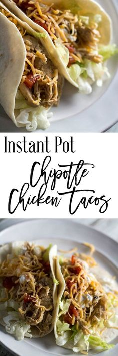 Instant Pot Chipotle Chicken Tacos - Turn up your Taco Tuesday with this Instant Pot chipotle chicken tacos recipe. This recipe is packed with flavor (the chipotle chilies will do that), and make a wonderful taco recipe. This recipe is only 4 SmartPoints per serving on Weight Watchers. http://dashofherbs.com/instant-pot-chipotle-chicken-tacos/