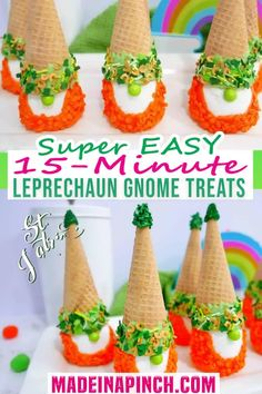 Celebrate the luck of the Irish this year with this ultra adorable (and EASY) St. Patrick's Day gnome treat. These adorable leprechaun gnomes take only 15 minutes and are so simple that even the kids can make them! When I shared my Santa Gnome Cake Mix Cookies, I had such a fun reaction that I knew I would need to share some variations of the idea. Who doesn't love gnomes? They're super cute and fun! Well, here you go! Today, I have a St. Patrick's Day Gnome treat for you! | @made_in_a_pinch