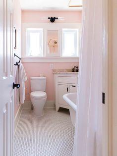 Pink Tile Bathroom Decorating Ideas Beautiful before & after All Hail the Pink Bathroom – Design Sponge Bathroom Colors, Bathroom Inspiration, Pink Bathroom Decor, Pink Bathroom, Trendy Bathroom, Pink Bathrooms Designs, Painting Bathroom, Shabby Chic Bathroom, Pink Tiles