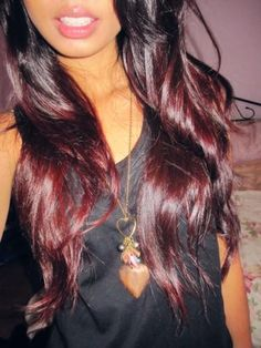 This red ombre is actually beautiful for dark haired girls! I'm usually quite anti dying my hair, but this was just so tempting that I couldn't resist. So, now I have brown and red ombre hair :) Brown To Red Ombre, Red Ombre Hair, Dark Red, Dark Brown, Auburn Ombre, Red Purple, Dark Ombre, Violet Ombre, Red Burgundy