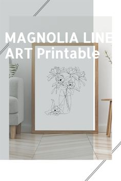 This Minimal Magnolia Line Art digital download emphasizes that less is more. This minimalistic black and white drawing makes it perfect for any space. This quick and easy download is ready to be in your hands right now! #Handdrawn #Boho #Magnolia line art #Print #digitaldownload for your #cloffice or Wall. The #blackandwhite design creates a clean minimalistic atmosphere