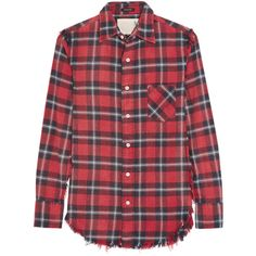 R13 Inside Out plaid cotton-flannel shirt (€315) ❤ liked on Polyvore featuring tops, shirts, blusas, blouses, camisas, red plaid shirt, button down shirts, flannel button up shirts, plaid button up shirts and cotton flannel shirts