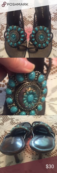Colin Stuart Sandals!😍 These beautiful sandals, are in mint condition. They are a size 8. They are genuine leather, with beautiful quality, faux turquoise stones. They sport a 4 inch heel. Colin Stuart Shoes Sandals